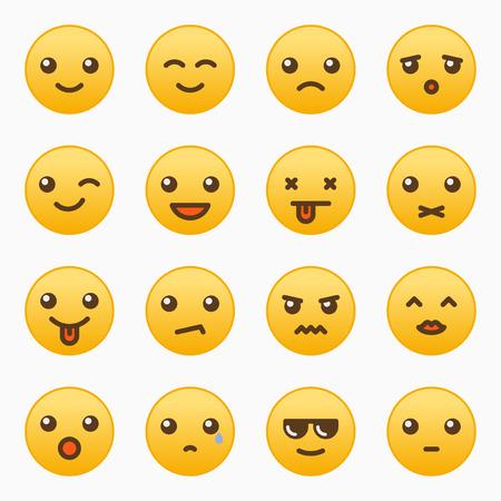 Yellow emoticons set vector graphic design illustration