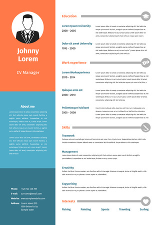 personal profile: CV, resume template, vector graphic design layout Illustration