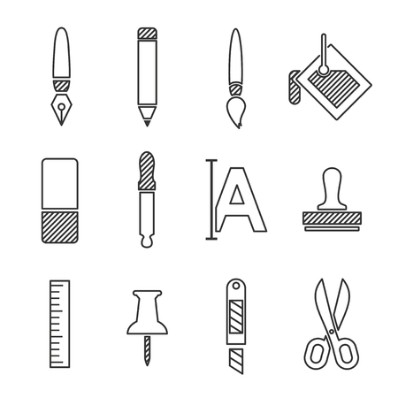 clones: Art icons set, line vector design illustration