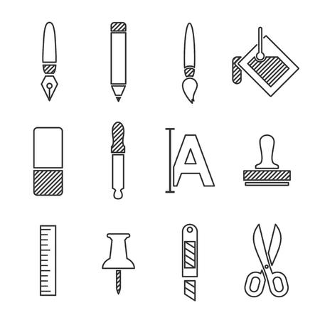 Art icons set, line vector design illustration