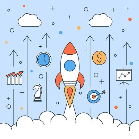 Rocket start up design , modern line graphic, business concept illustration