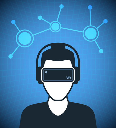 headset: Virtual reality icon, men with glasses and headset in cyberspace
