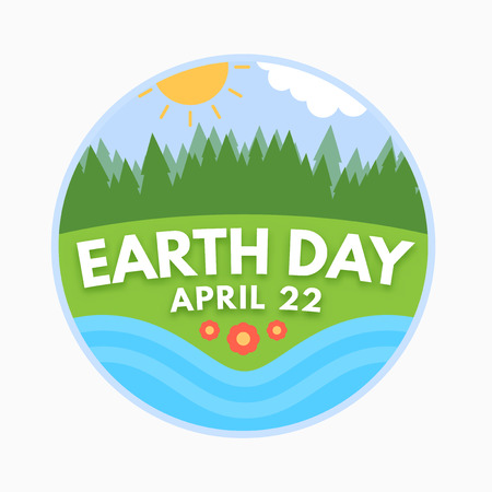 Earth day, April 22, graphic illustration poster Иллюстрация