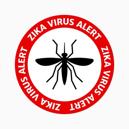 pandemic: Zika virus alert, red sign, black mosquito, danger for pregnant