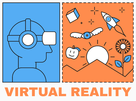 glasses icon: Virtual reality icon, men with glasses and headset, virtual reality scene Illustration