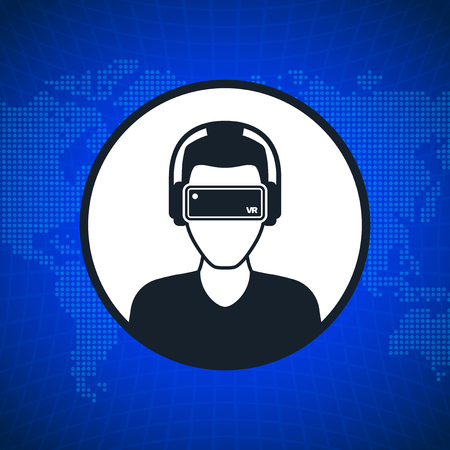 glasses icon: Virtual reality icon, men with glasses and headset in cyberspace