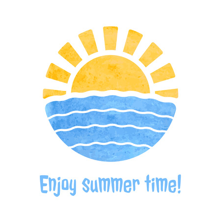 sunshine: Summer time icon with sun and sea, watercolor style fill, illustration graphic