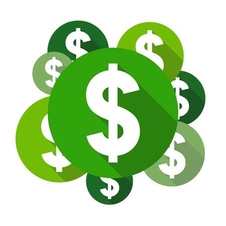 currency symbol: Dollar symbols, flat design style circles with long shadow, green color
