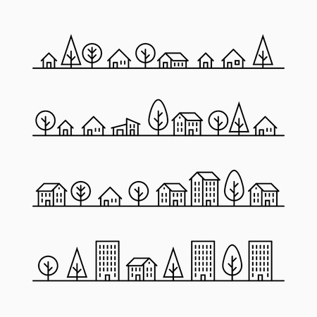 exterior element: Outline buildings and trees in line, 4 different styles, small city, town or village, illustration graphic