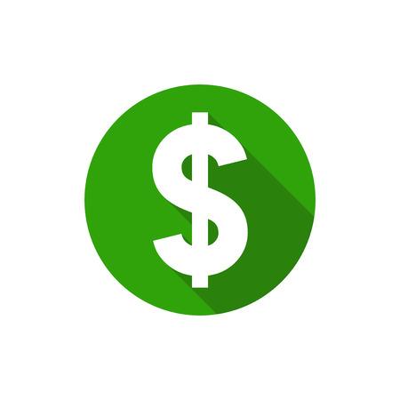 Simbolo del dollaro, piatta cerchio stile di design con una lunga ombra, colore verde Vettoriali