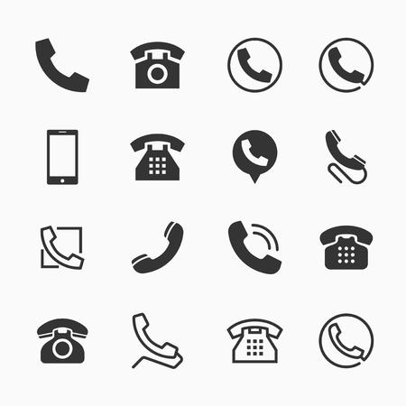 Phone icons, set of 16 telephone symbols, ideal for website design, illustration graphic
