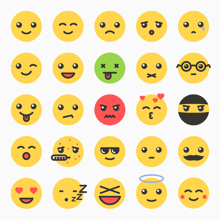 icons set: Emoticons set, yellow website emoticons, Emoji icons, Emoticons faces, Isolated emoticons on white background vector illustration