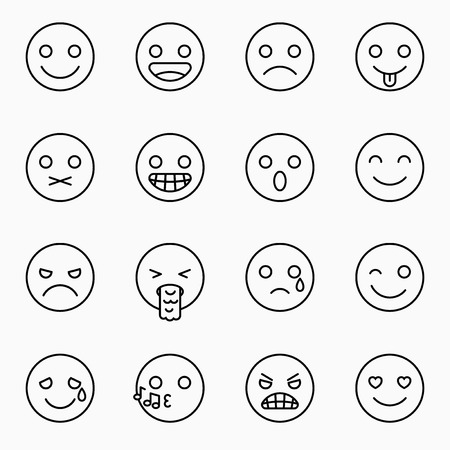 Emoticons Set Yellow Website Emoticons With Outline Emoji Icons