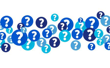 Vraagtekenjes in blauwe cirkels, Flow van iconen op witte achtergrond