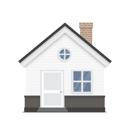 windows home: House vector illustration, Home concept graphics, door, two windows and chimney