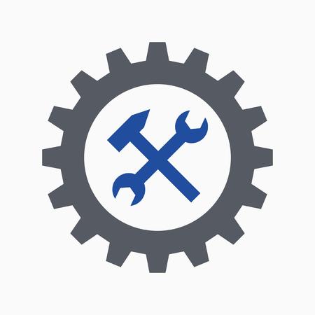 Cogwheel, spanner and hammer, work symbol or repair icon