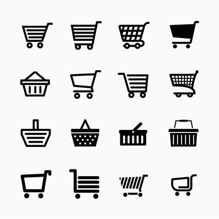 desig: Shopping cart icons set, Add to cart website symbols, user interface pictograms for webdesign or application desig