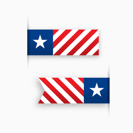 paper tags: USA paper tags, star and stripes, label illustration