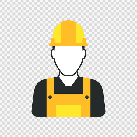 engineers: Workman with helmet, person icon, man in worksuit symbol
