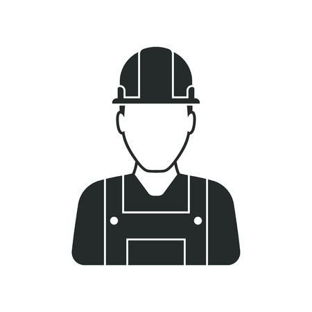 workman: Workman with helmet, person icon, man in worksuit symbol