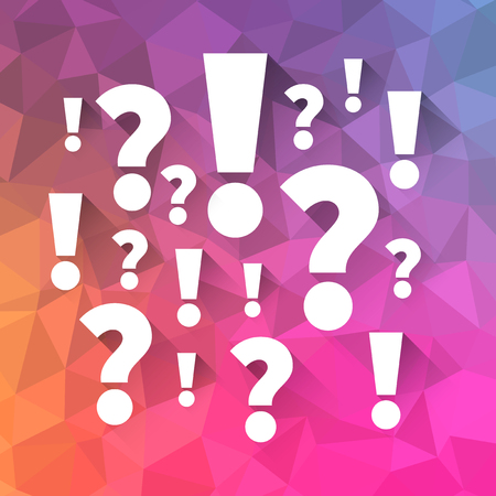 Question and answers symbols on polygon abstract background, Punctuation marks illustration
