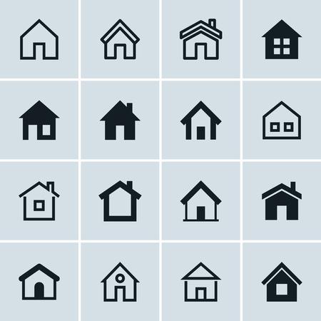 Inicio iconos fijados, Página de inicio - página web o un símbolo de bienes raíces