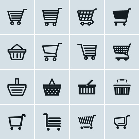 add to basket: Shopping cart icons set, Add to cart website symbols, user interface pictograms for webdesign or application design Illustration