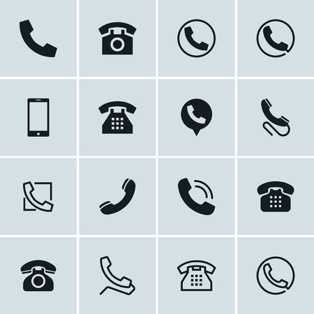 Phone icons, set of 16 telephone symbols, ideal for website design 矢量图像