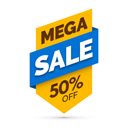 sale sticker: Mega sale banner, Yellow and blue colors.