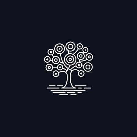 tree symbol: Line Symbol, Tree on meadow, Ecology concept, vector design element