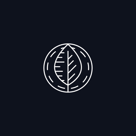 foliage  natural: Line Symbol, Leaf in circle, Herbal concept, vector design element