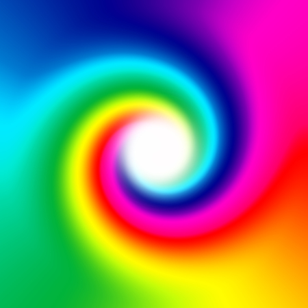 Abstract rainbow spiral with white space in the middle of vortex