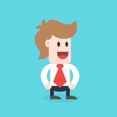 office manager: Businessman cartoon character - male wearing shirt and tie standing vector illustration