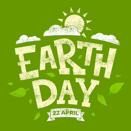 Earth day banner, 22nd April, sun with clouds and leaves, vector illustration graphic Ilustração