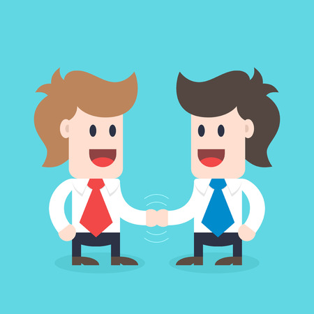 Businessman cartoon character - two males handshaking, business concept illustration
