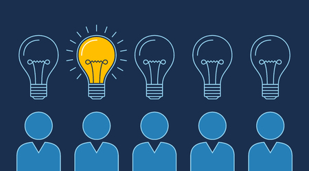 One lit bulb among unlit bulbs above persons , New idea business illustration vector