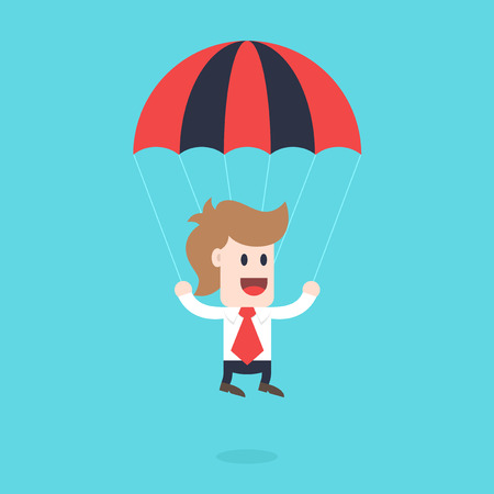 Businessman cartoon character - guy with parachute, business concept illustration