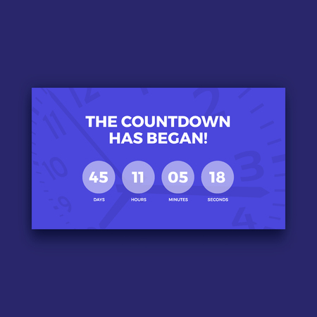 Countdown timer scherm, paars kleur, vector illustratie grafisch Stock Illustratie