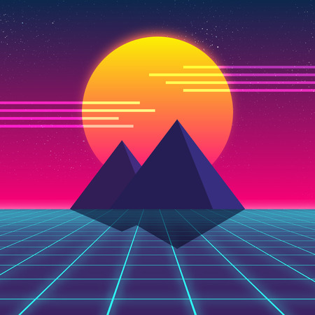 Synthwave retro design, Pyramids and sun, vector illustration Stock Illustration - 79799945