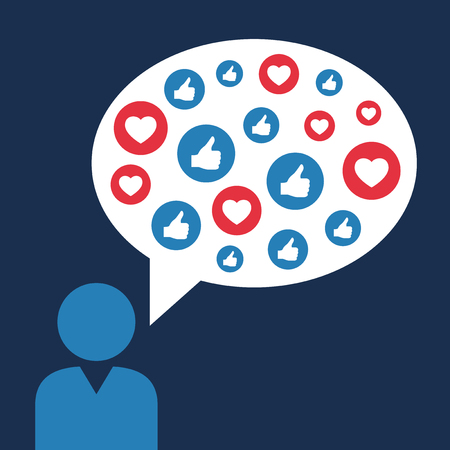 Person make Likes and loves symbols, social sites concept, vector illustration.