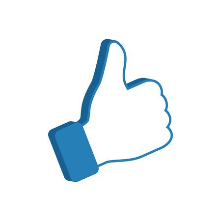 Like symbol, social media icon thumb up, vector illustration