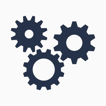 mechanism of progress: Cogs symbol on white background, settings icon, vector illustration Illustration