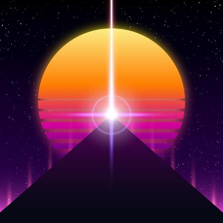 Diseño retro de Synthwave, pirámide, rayo y sol, ilustración vectorial