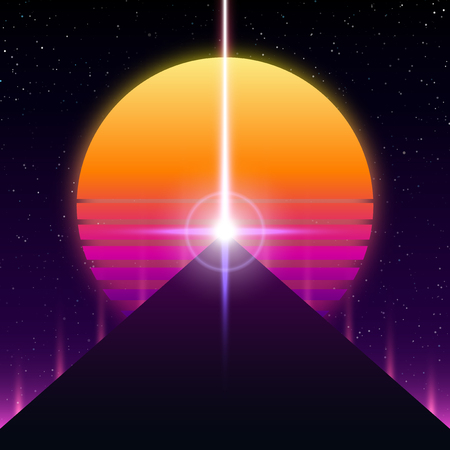 Synthwave retro design, Pyramid, ray and sun, vector illustration