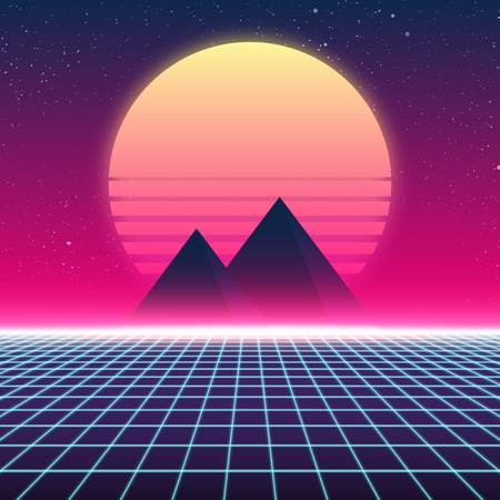 Synthwave retro design, Pyramids and sun, vector illustration Çizim