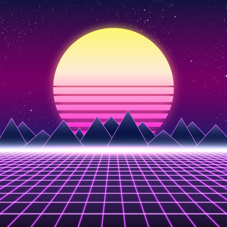 electronic background: Synthwave retro design, mountains and sun, vector illustration