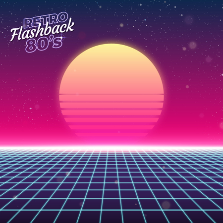 electronic background: Synthwave retro design, sun, and grid vector illustration Illustration
