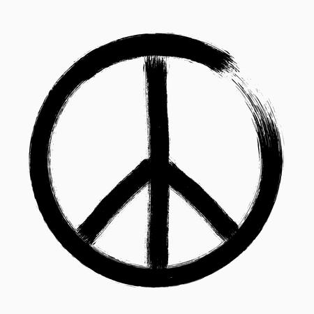 Peace symbol, Hand drawn brush, vector illustration Illustration