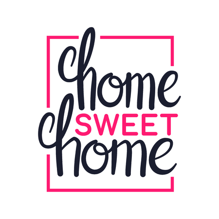 Home sweet home, art lettering typography design, vector illustration