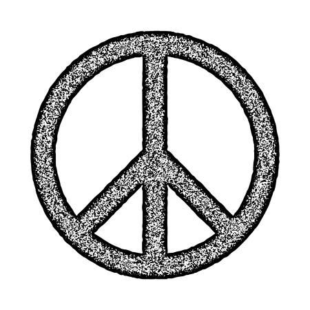 Peace Symbol Hand Drawn Brush Stamp Style Vector Illustration